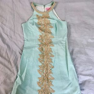 Lilly Pulitzer gold and blue shift dress